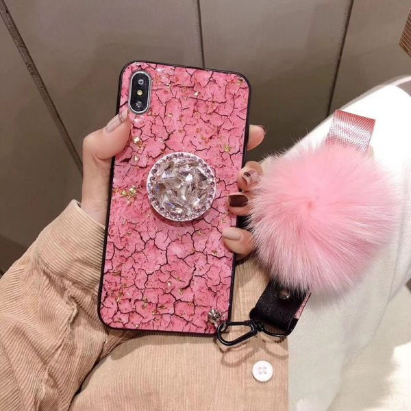 Hair Ball Airbag Bracket Diamond iPhone Case