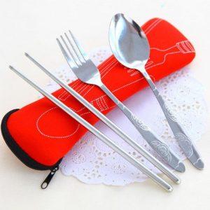 Travel 3x fork spoon portable bag