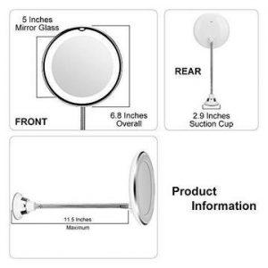Flexible Light Up Mirror 10X magnification 360-Degree Rotating Makeup Mirror
