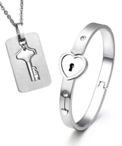 Heart Lock Bracelet & Key Necklace