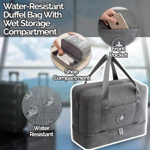 Water-Resistant Duffel Bag With Wet Storage Compartment