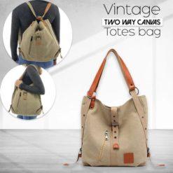Vintage Two Way Canvas Totes Bag