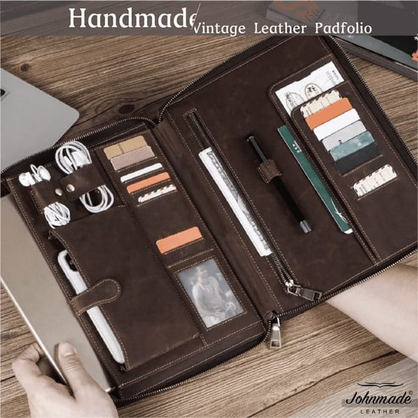 JOHNMADE Leather Vintage Handmade Padfolio
