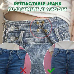 Retractable Jeans Adjustment Clasps Set