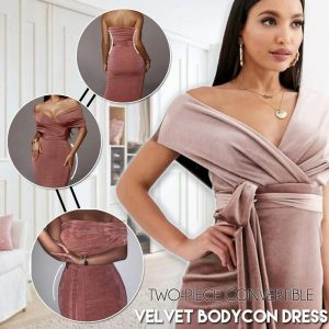 Two-piece Convertible Velvet Bodycon Dress