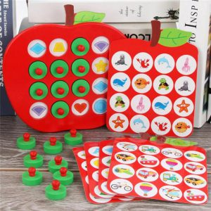 Wooden Apple Memory Matching Game