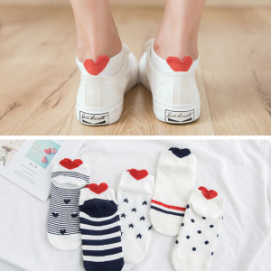 Novelty Ankle Heart Socks (5 Pairs)