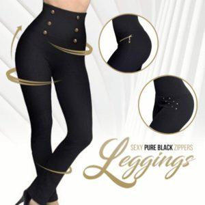 Sexy Pure Black Pearl Zippers Leggings