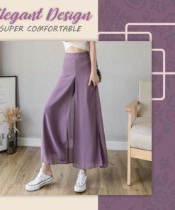 Ice Silk Chiffon Wide-Leg Pants
