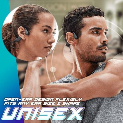 Sportex, the ultimate music partner designed for workout. Sportex applies open-ear design which is powered by bone conduction technology, allowing total awareness of surroundings and bud-free, comfortable listening. No more earbuds falling out, or ear canals getting hurt. Connect your devices with advanced Bluetooth 5.1 in a wireless way, then wear Sportex to enjoy premium audio experience with a wide dynamic range and rich bass. Only takes 2 hours for a full charge to support 8+ hours of continuous use. Fully sweatproof & waterproof for any intense workouts and extreme weathers. Enjoy music, calls, audiobooks, and podcasts all day long with Sportex! FEATURES: Open-ear Design Our open-ear design powered by bone conduction technology allows for total awareness of surroundings and bud-free, comfortable listening. Quality Sound Delivers a premium audio experience with a wide dynamic range and rich bass. Significantly reducing natural sound leakage, you are ensured the best on-the-go audio. 8+ Hours of Music & Calls Only takes 2 hours for a full charge to support 8+ hours of continuous use. Enjoy music, calls, audiobooks, and podcasts all day long. Waterproof IP67 rating makes these fully sweat and waterproof to welcome intense workouts and extreme weather. Stable Bluetooth Connection Designed as modern wireless earphones with advanced Bluetooth 5.1 More stable while allowing quick multipoint pairing to connect your phone or other devices. Highly compatible with IOS, Android smartphones, tablets, Mac and any devices with Bluetooth function. Ultra Flexible Neckband Made of premium Titanium which ensures maximum comfort during extended wear. Lightweight and Compact Design